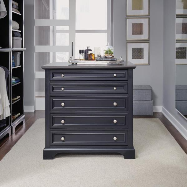 Home Styles Bedford 5 Drawer Black Closet Island