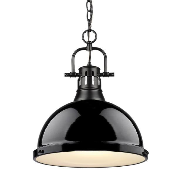 Duncan 1-Light Black Pendant and Chain with Black Shade
