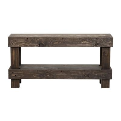 Rustic  Dark Walnut Contemporary Farmhouse Solid Wood Bench Small