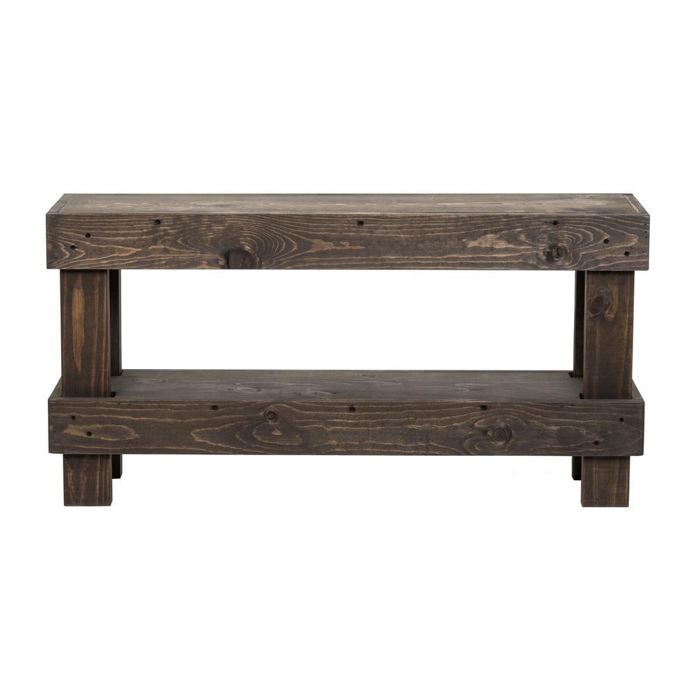Rustic  Dark Walnut Contemporary Farmhouse Solid Wood Bench Small