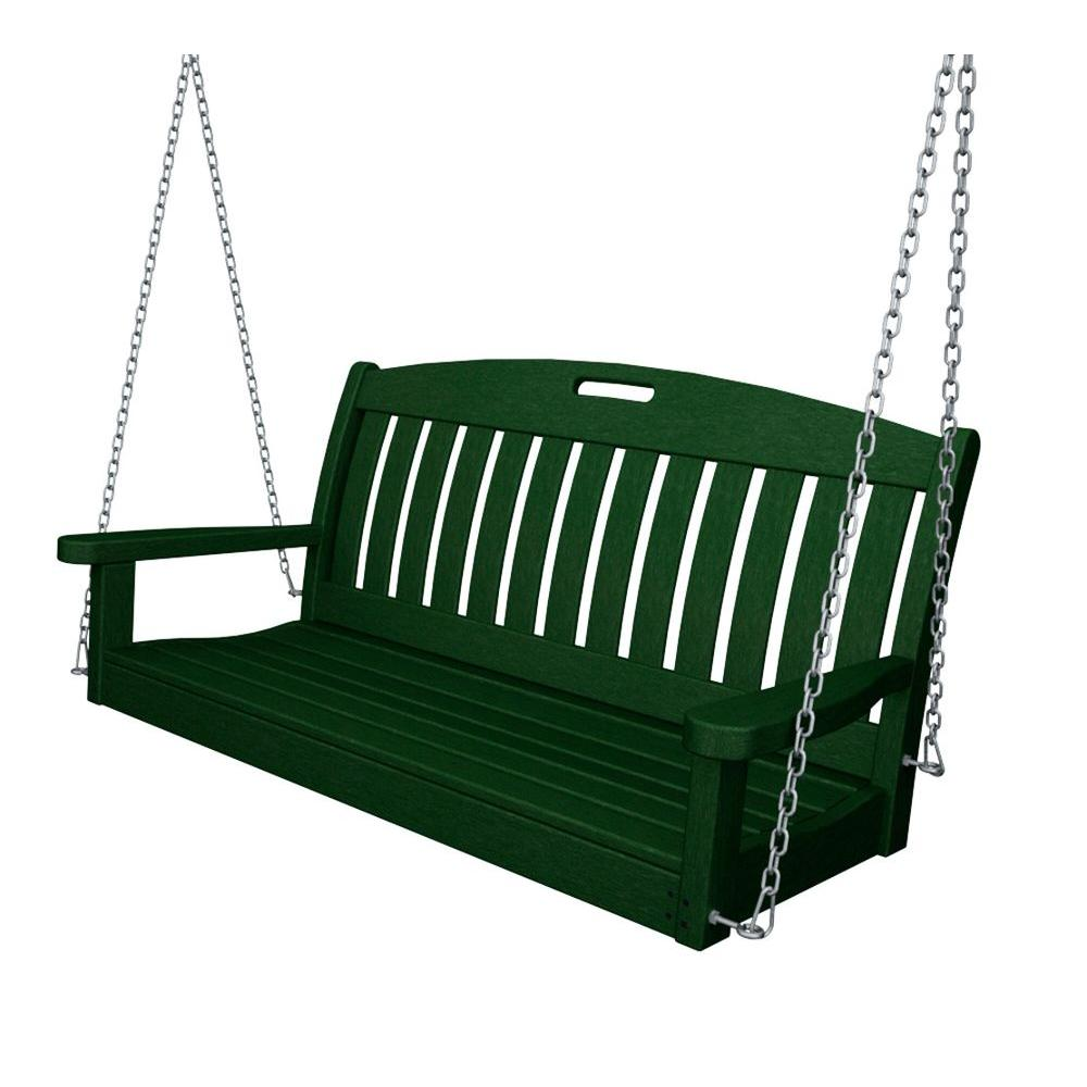 Nautical 48 in. Green Plastic Outdoor Porch Swing