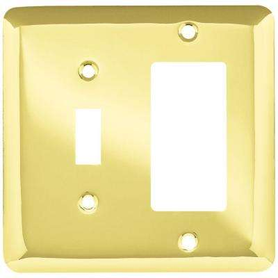 Stamped Round Decorative Switch and Rocker Switch Plate, Polished Brass