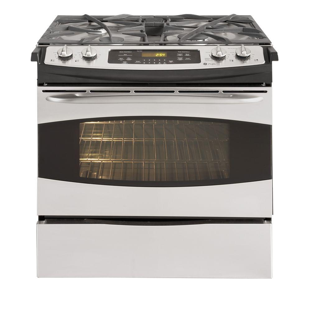 GE Profile 4.1 cu. ft. Slide-In Gas Range with Self-Cleaning Oven in Stainless Steel