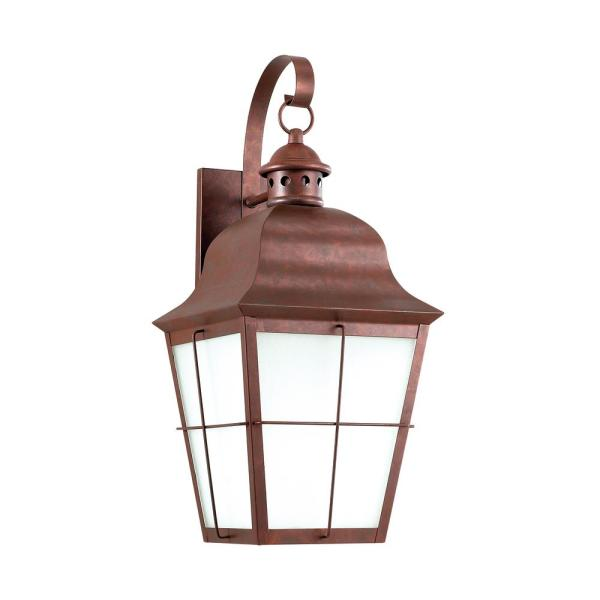 Chatham 1-Light Weathered Copper Outdoor 21 in. Wall Lantern Sconce