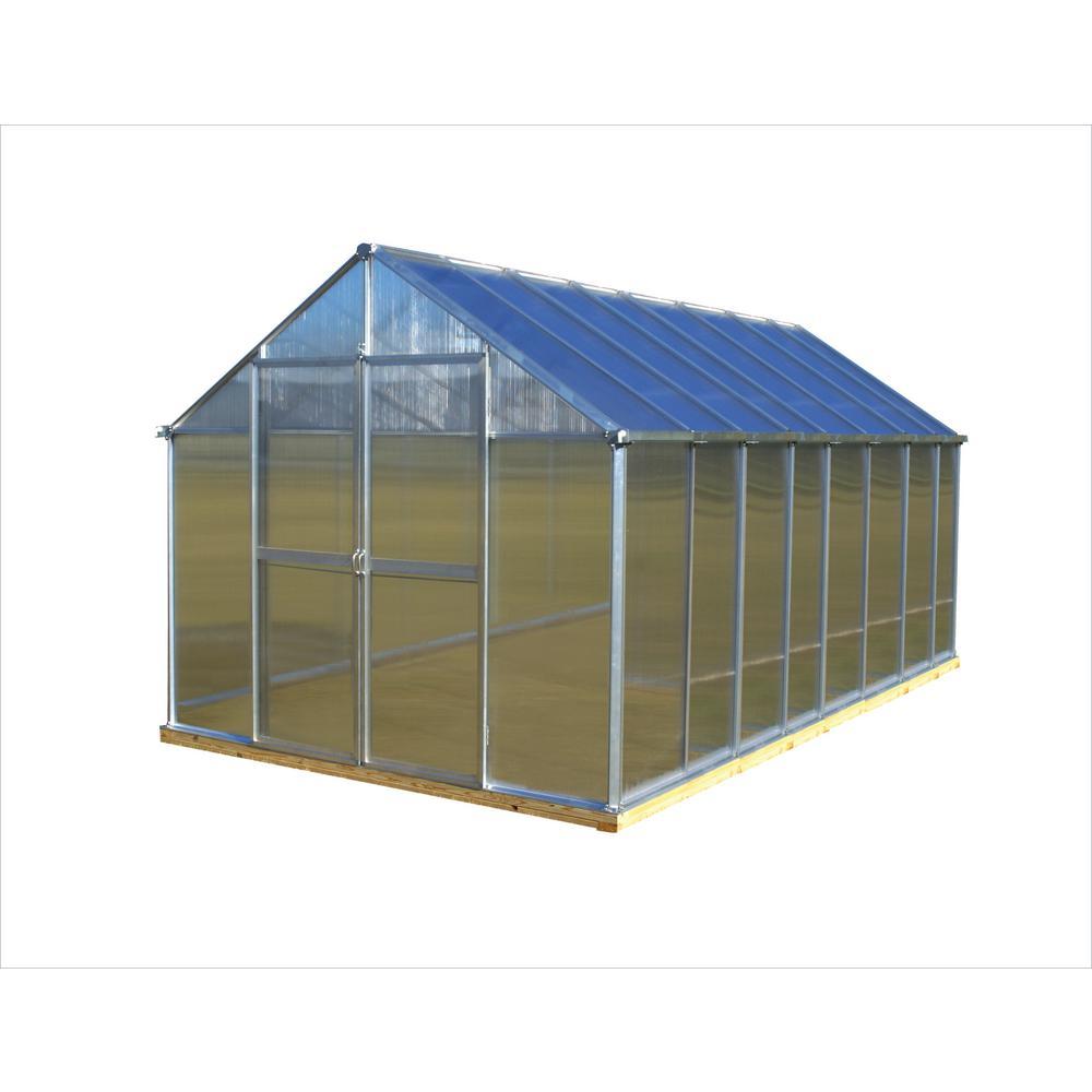 8 ft. x 16 ft. Aluminum Finish Greenhouse