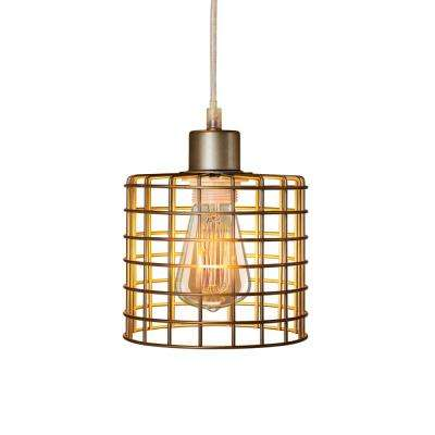 Fangio Lighting's 5.5 in. 1-Light Antique Silver Basket Cage Metal Pendant