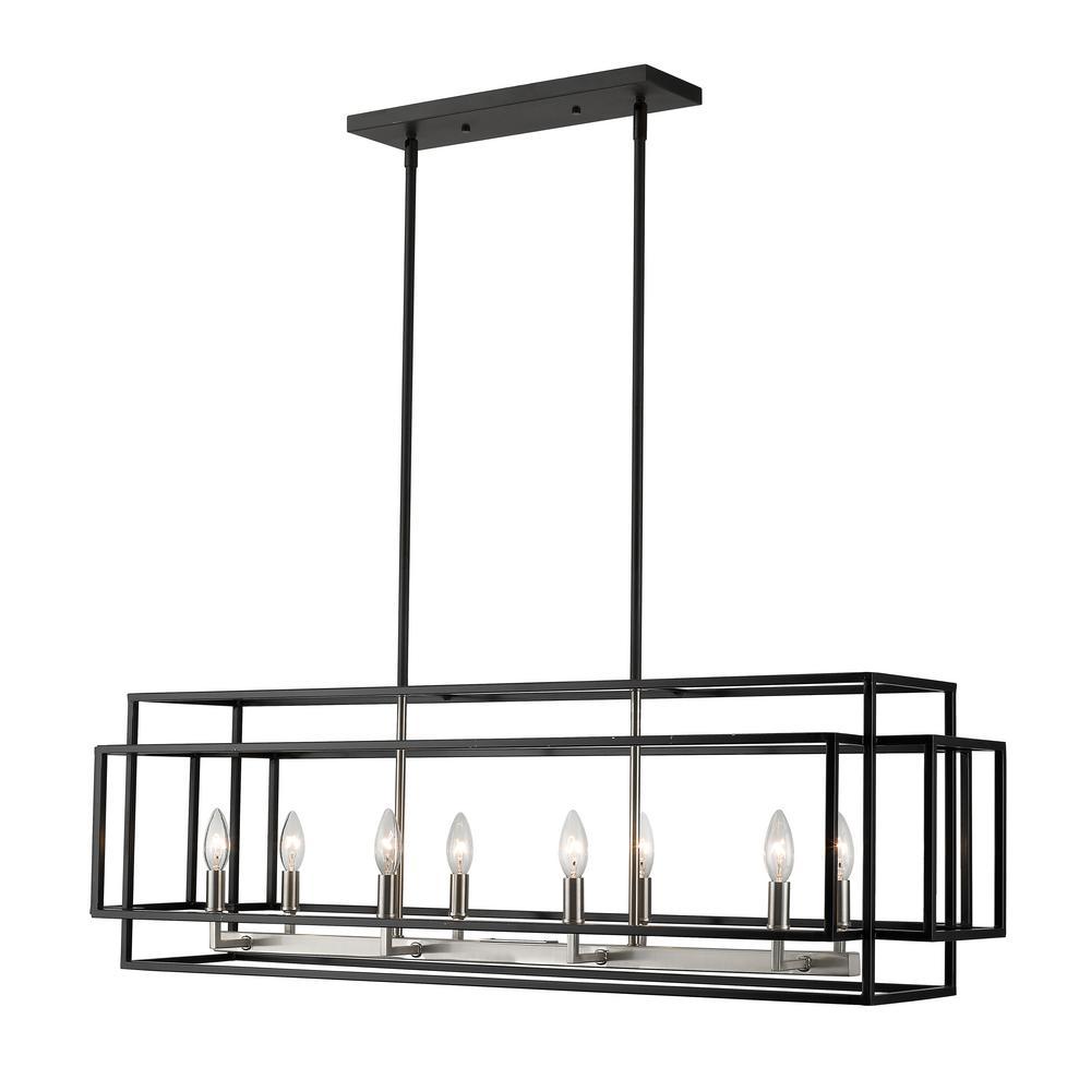 Filament Design Tulla 8-Light Black And Brushed Nickel