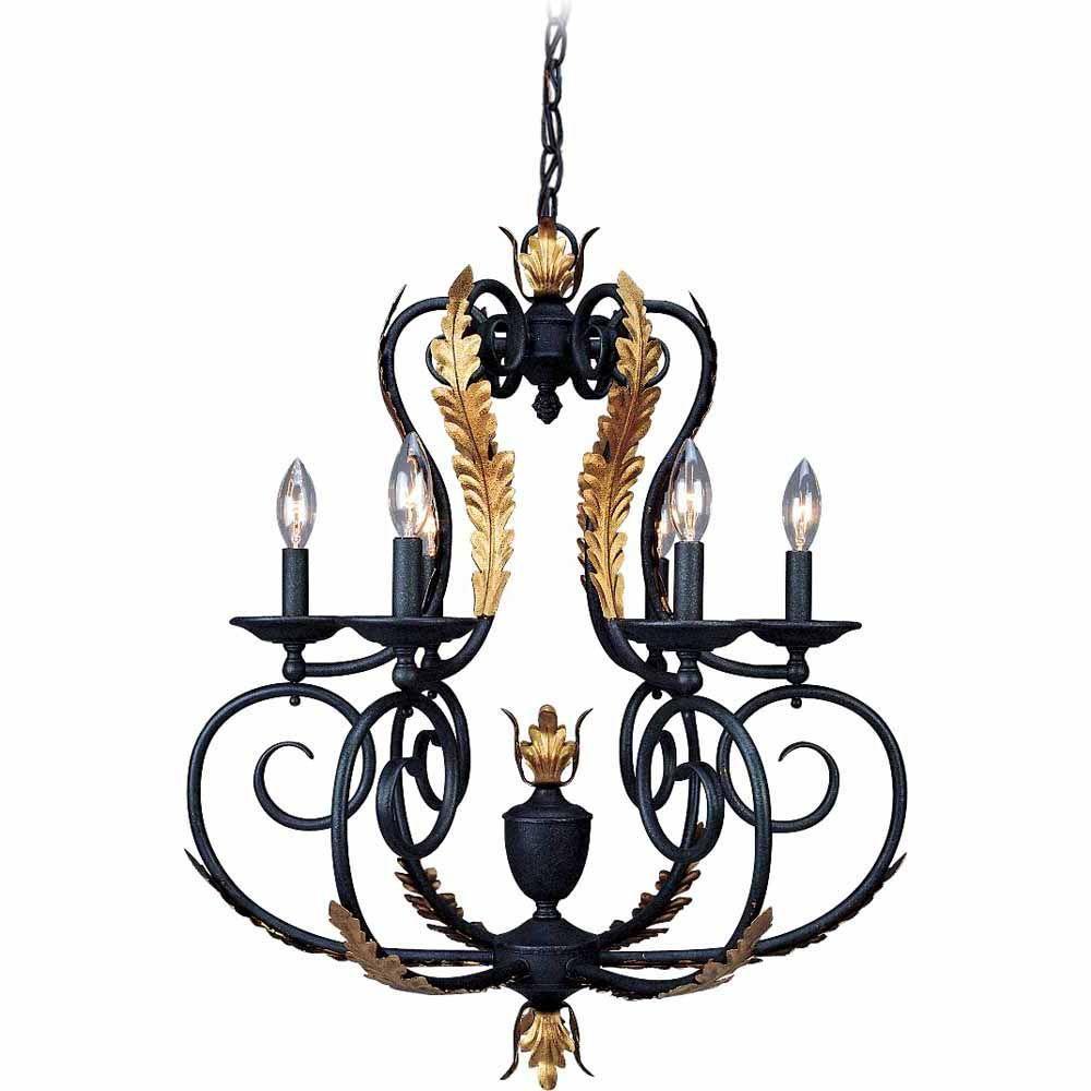 Filament Design Lenor 6-Light Antique Iron/Antique Gold Incandescent Ceiling Chandelier