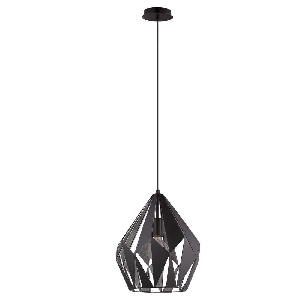 Eglo Carlton 1 Black And Silver Pendant Light 49255a The Home Depot