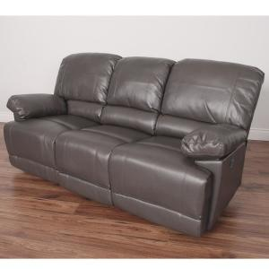 Lea Brownish Grey Bonded Leather Power Reclining Sofa with USB Port