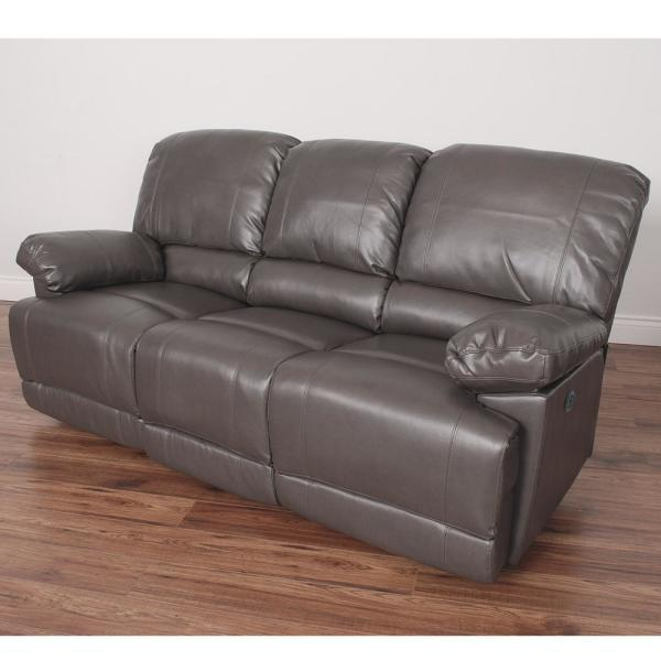 CorLiving Lea Brownish Grey Bonded Leather Power Reclining Sofa with USB
