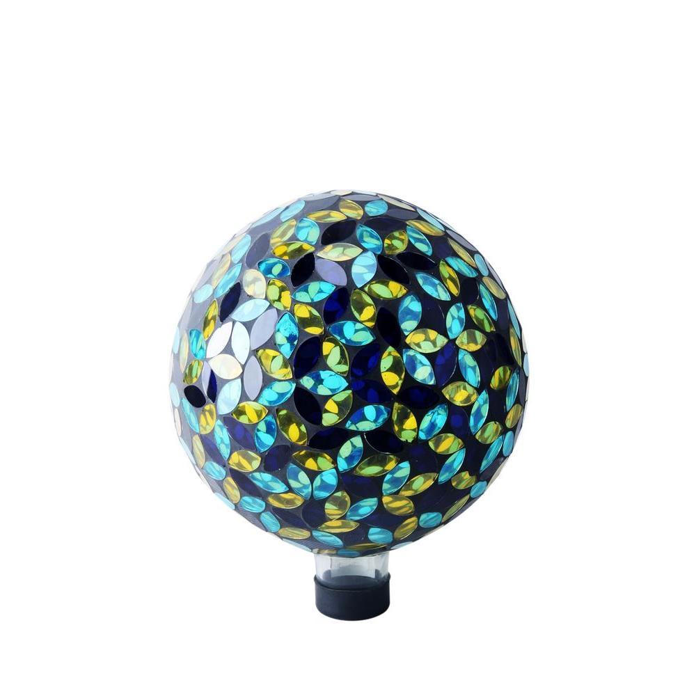 Alpine 10 in. Blue/Yellow Mosaic Gazing Ball