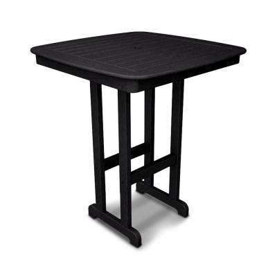 Nautical Black 37 in. Plastic Outdoor Patio Bar Table