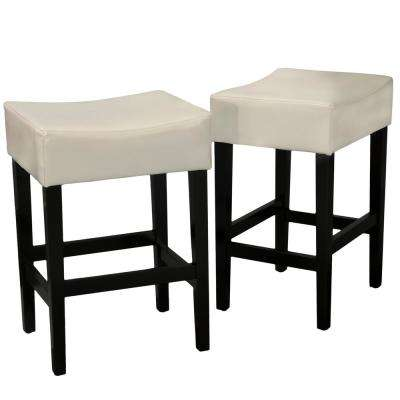 Lopez 26.75 in. Ivory Cushioned Counter stool (Set of 2)
