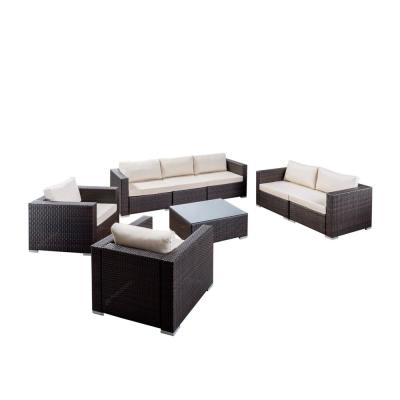 Santa Rosa Multi-Brown 8-Piece WIcker Patio Conversation Set with Beige Cushions