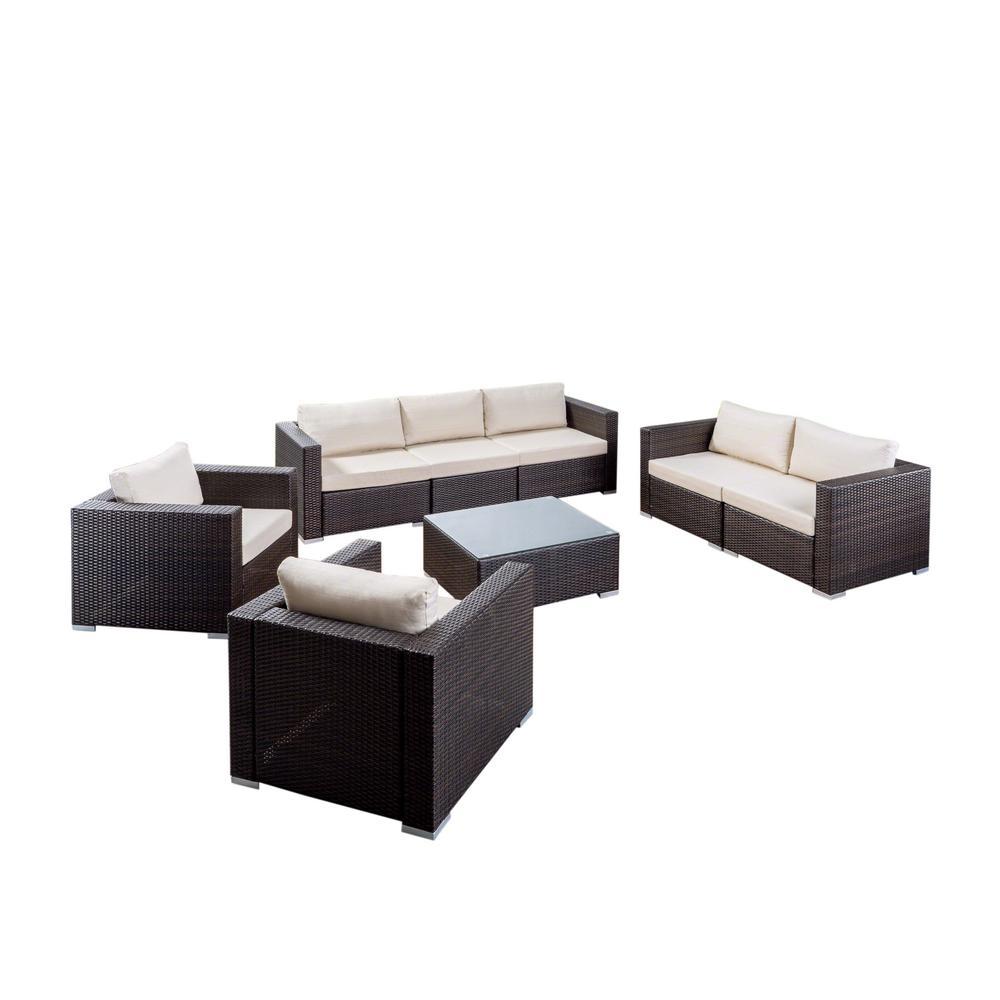 Santa Rosa Multi-Brown 8-Piece WIcker Patio Conversation Set with Beige Cushions