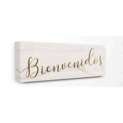 "13 in. x 30 in. ""Rustic Minimal White Wood Bienvenidos Spanish Typography""by Artist Daphne Polselli Canvas Wall Art"