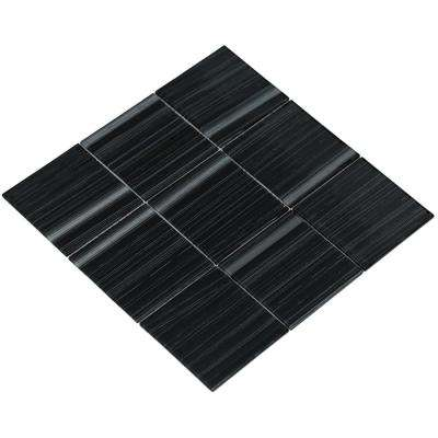 Shilla/02, Shiny Black and White Brushed Glass, 4 in. x 4 in. x 4 mm Glass Mesh-Mounted Tile Sample