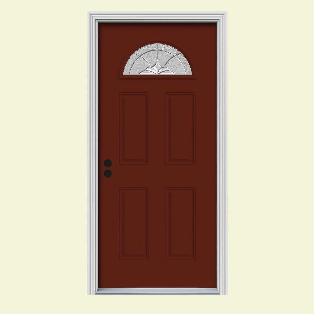 JELD-WEN 34 in. x 80 in. Fan Lite Langford Mesa Red Painted Steel Prehung Right-Hand Inswing Front Door w/Brickmould