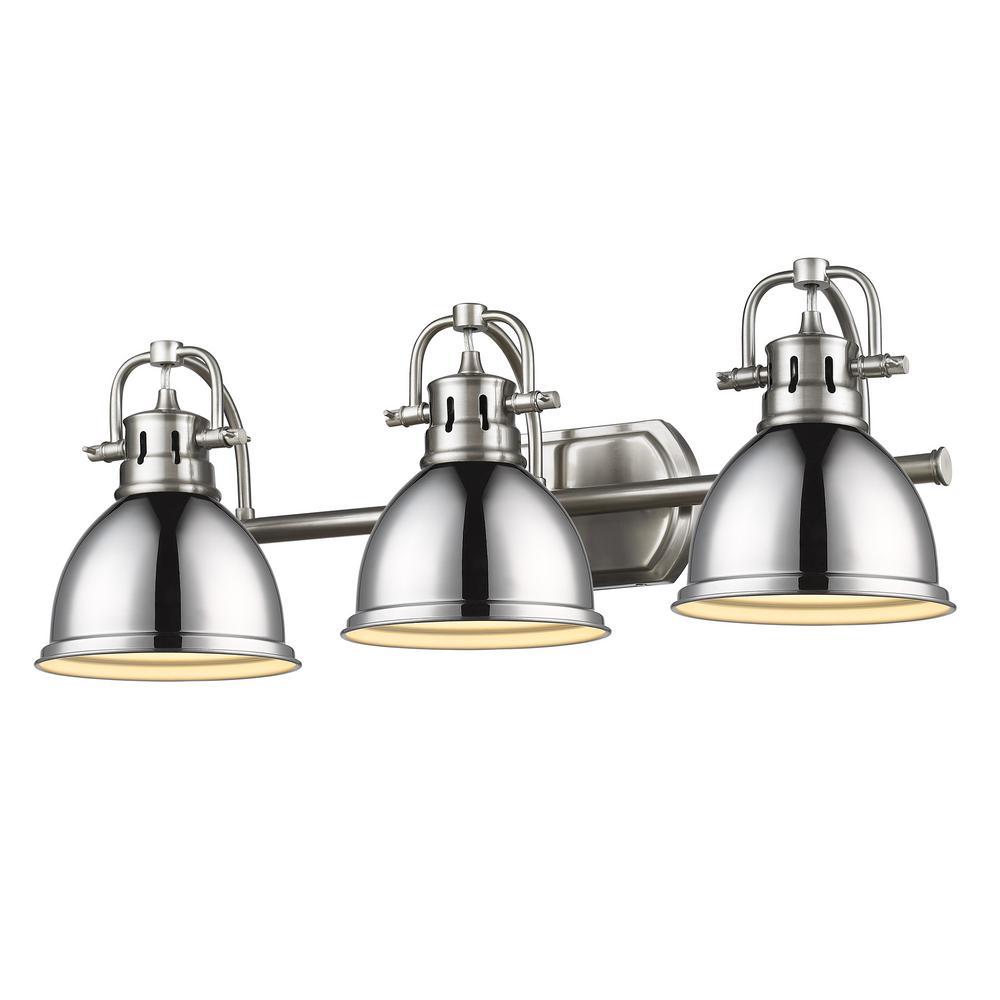 Duncan 8.125 in. 3-Light Pewter Vanity Light