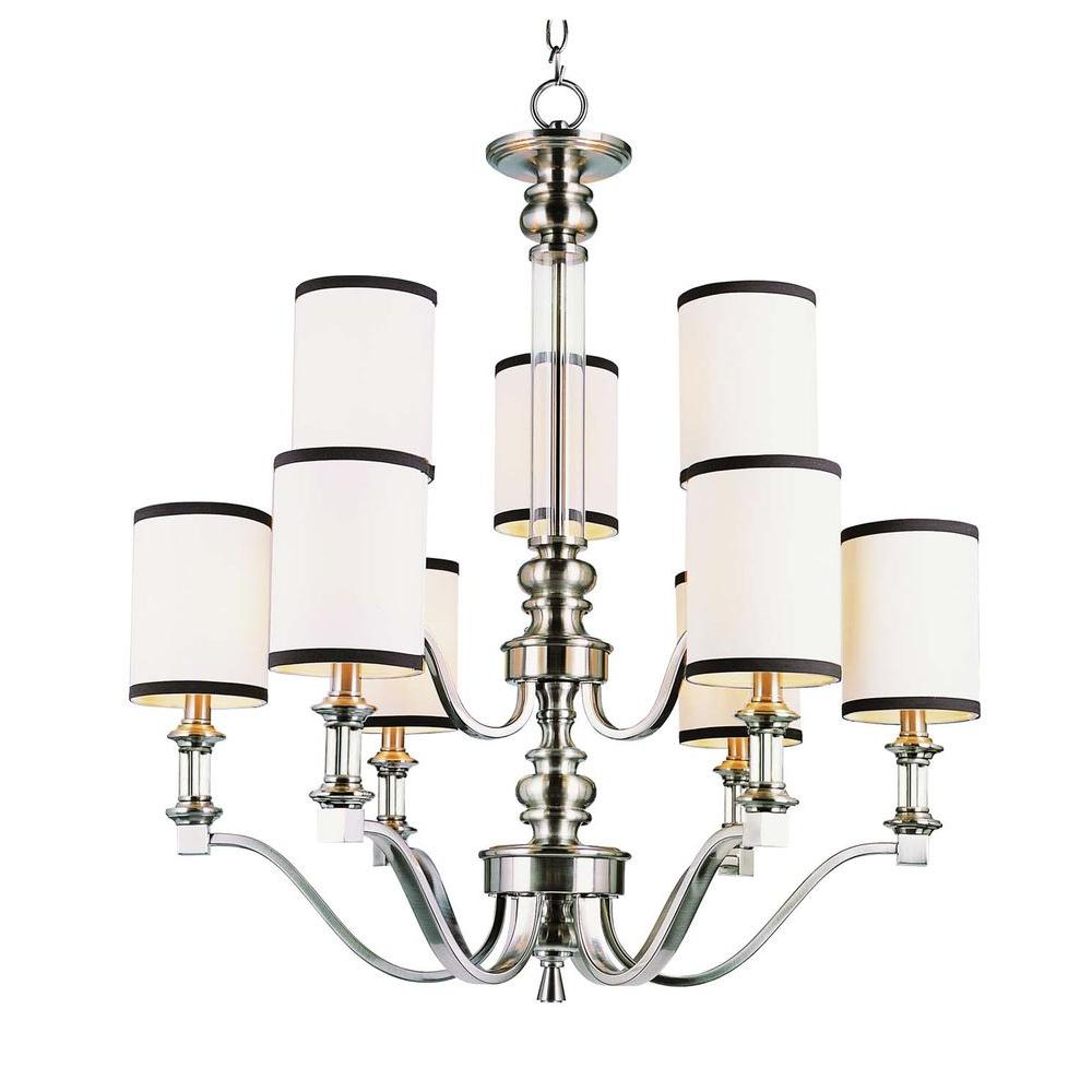 Bel Air Lighting Stewart 9-Light Brushed Nickel Chandelier with White and Black Shades