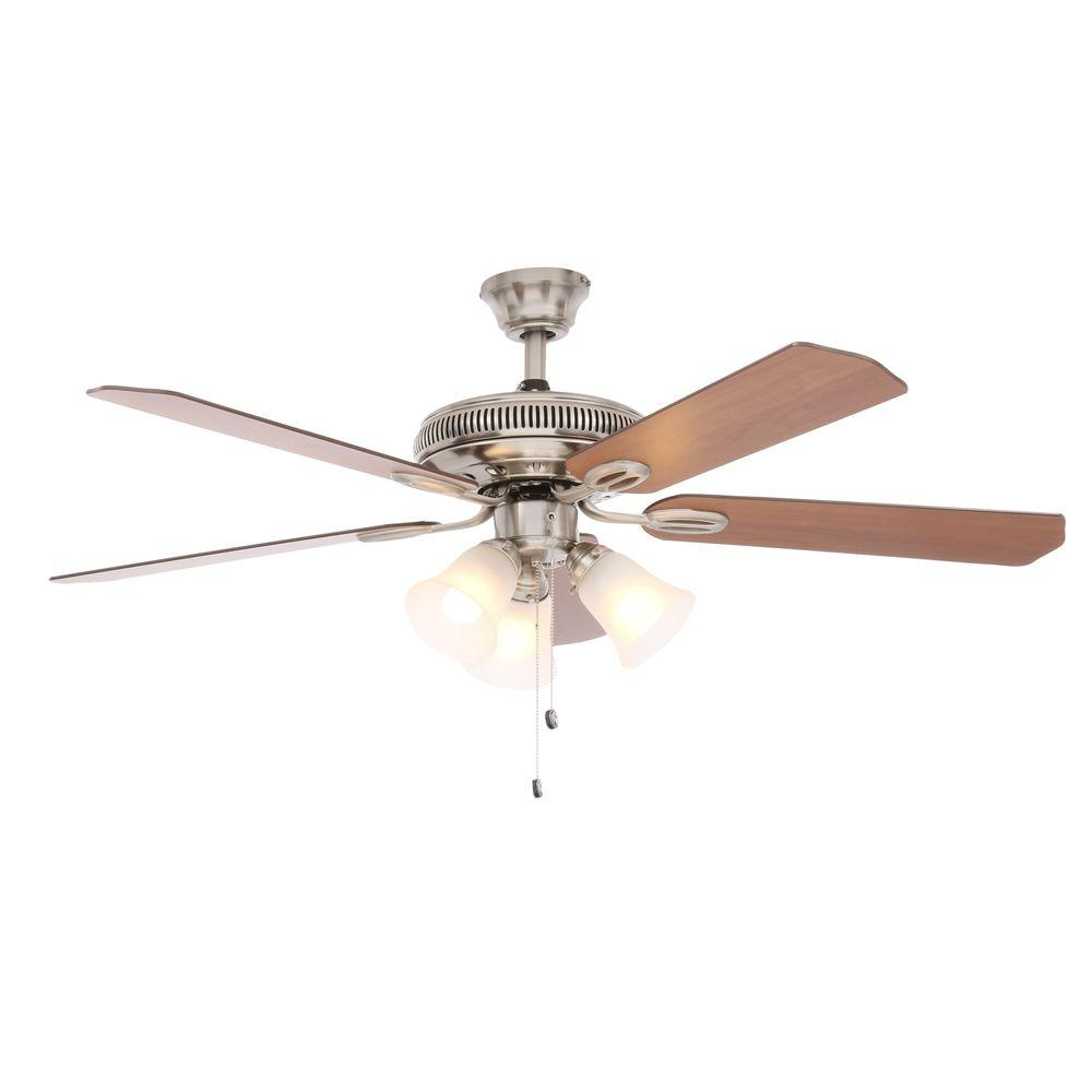Hampton bay glendale 52 in indoor brushed nickel ceiling fan with indoor brushed nickel ceiling fan with light kit ag524 bn the home depot aloadofball Image collections