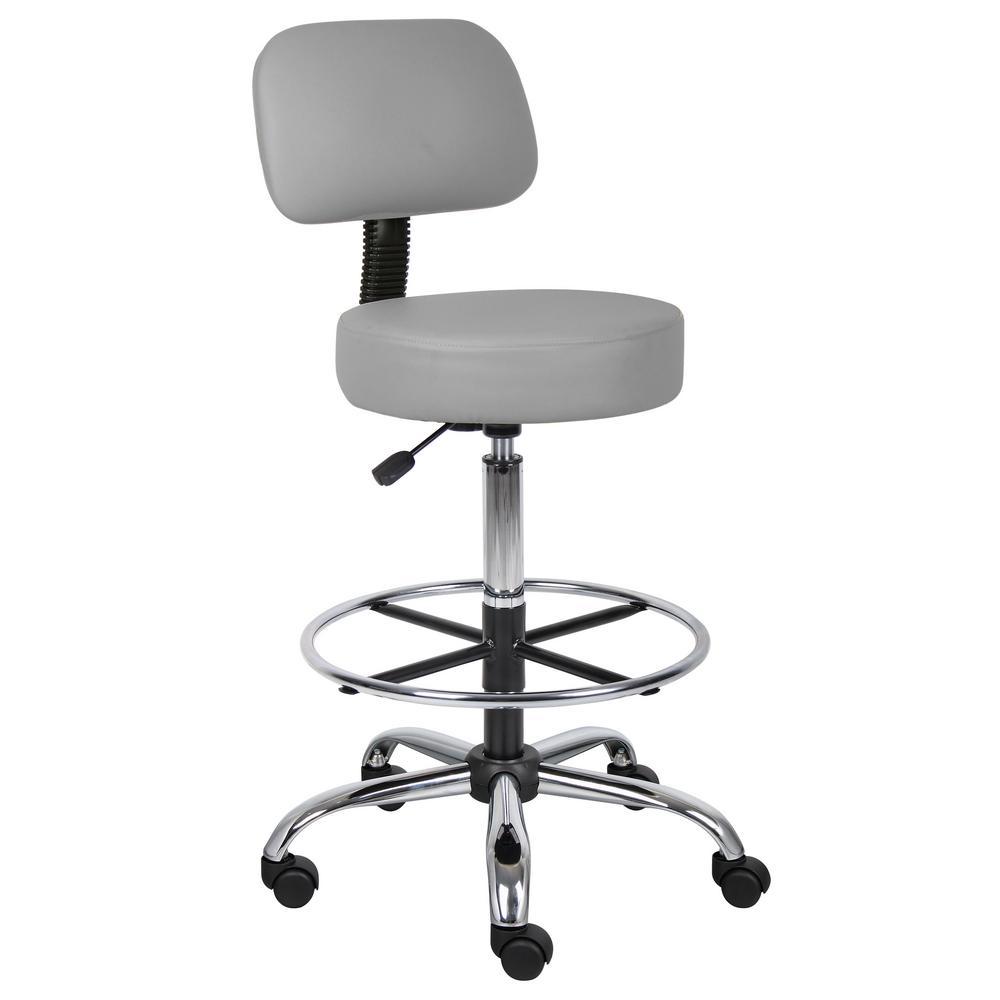 Boss Grey Caressoft Medical Drafting Stool With Back Cushion