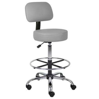 Grey Caressoft Medical/Drafting Stool with Back Cushion