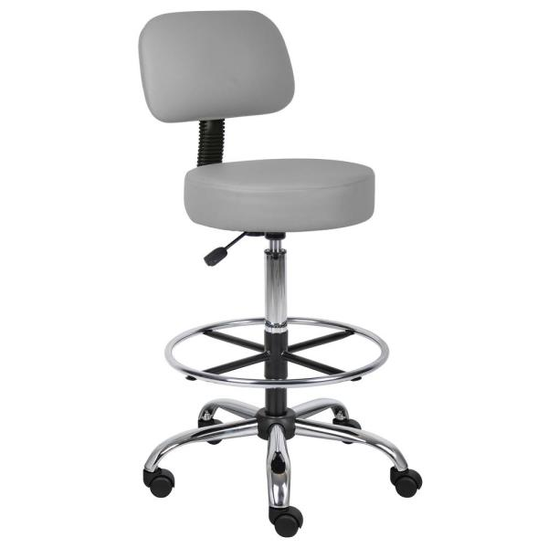 Boss Grey Caressoft Medical/Drafting Stool with Back Cushion B16245-GY