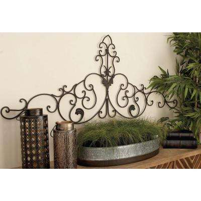 59 in. x 24 in. Old World Bronze-Finished Iron Arched Leaf with Scrollwork Wall Decor