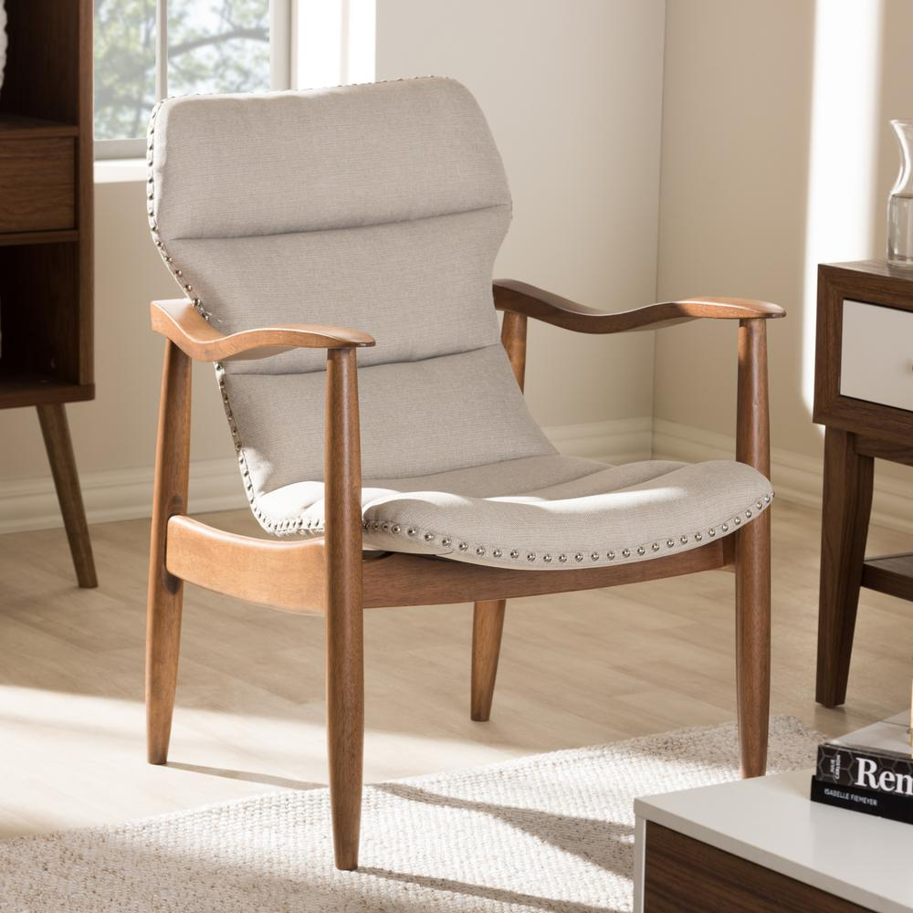 "Hadley Light Beige and ""Walnut"" Brown Fabric Lounge Chair"