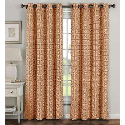 Semi-Opaque Greek Key Cotton Blend Extra Wide 96 in. L Grommet Curtain Panel Pair, Rust (Set of 2)