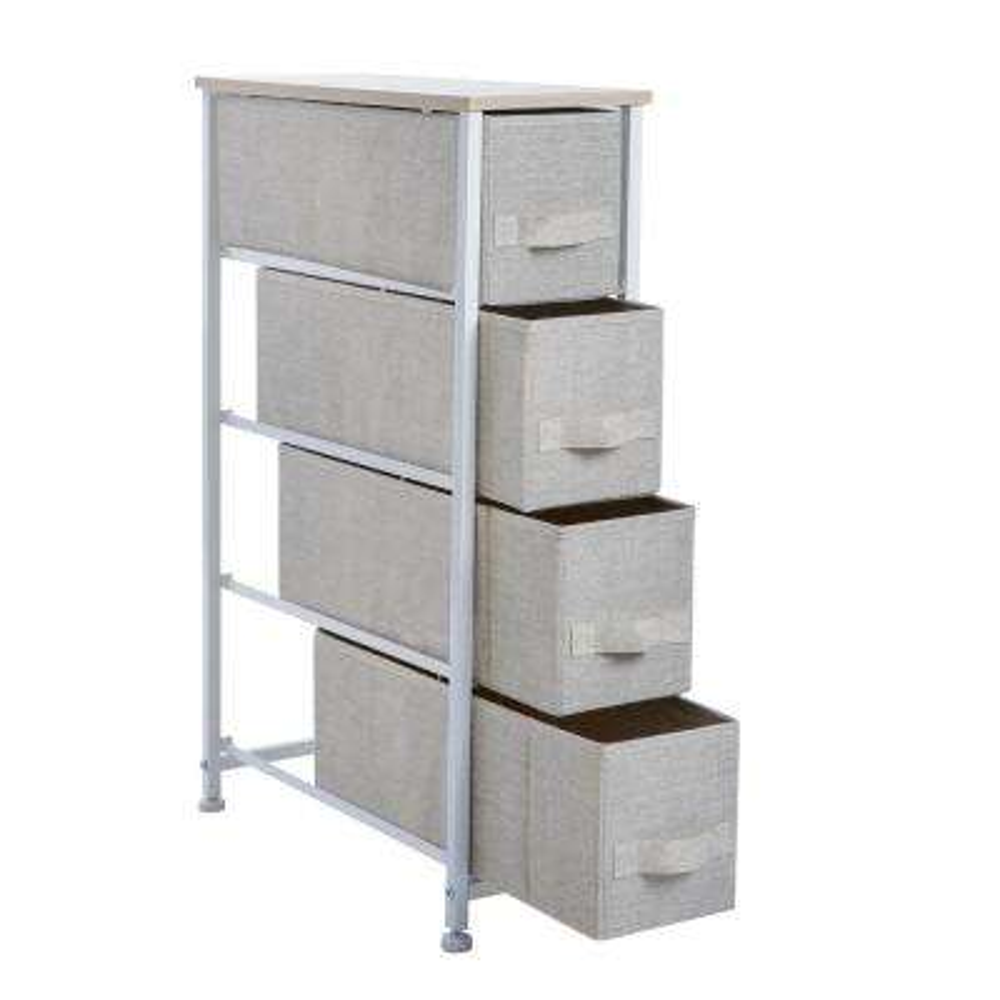 7.9 in. x 18.9 in. x 29.7 in. 4-Drawer Narrow Storage Chest in Beige