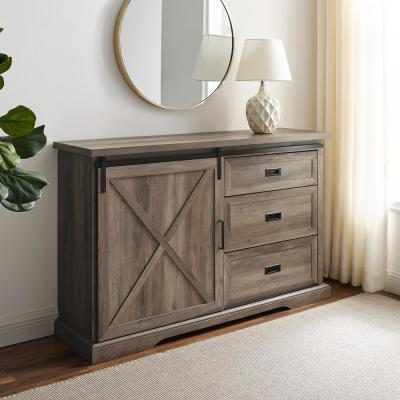 Grey Wash Wood Sideboard with Sliding Barn Door