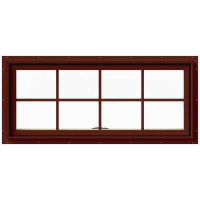 48 in. x 20 in. W-2500 Series Red Painted Clad Wood Awning Window w/ Natural Interior and Screen
