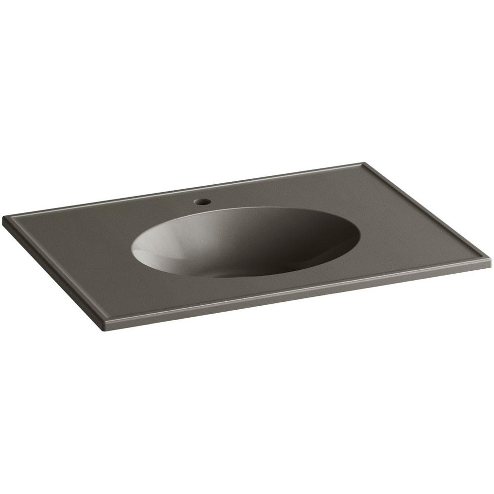 KOHLER Ceramic/Impressions 31 in. Single Faucet Hole Vitreous China Vanity Top with Basin in Cashmere Impressions