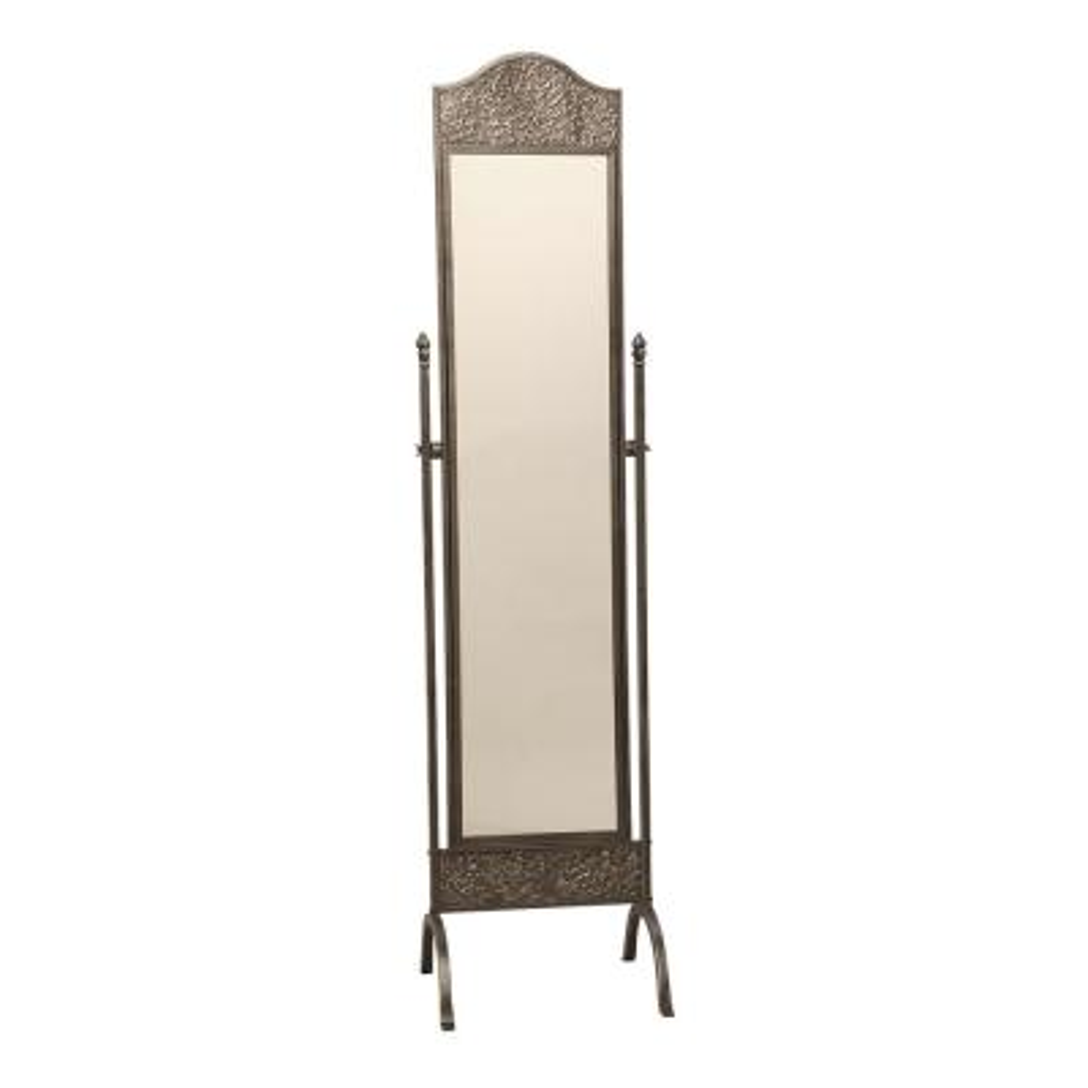 Oversized Gunmetal Silver Metal Tilting Classic Mirror (74 in. H X 18 in. W)
