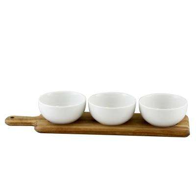 Gracious Dining 8.25 in. 4-Piece White Tidbit Bowl Set with Wood Paddle