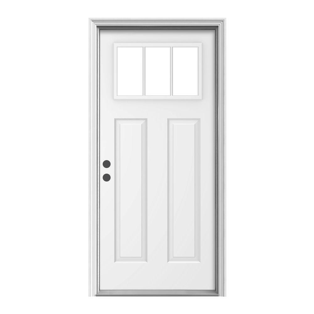 JELD-WEN 36 in. x 80 in. 3 Lite Craftsman White Painted Steel Prehung Right-Hand Inswing Front Door w/Brickmould