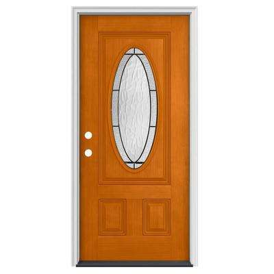 36 in. x 80 in. 3/4 Oval Lite Wendover Saffron Stained Fiberglass Prehung Right-Hand Inswing Front Door