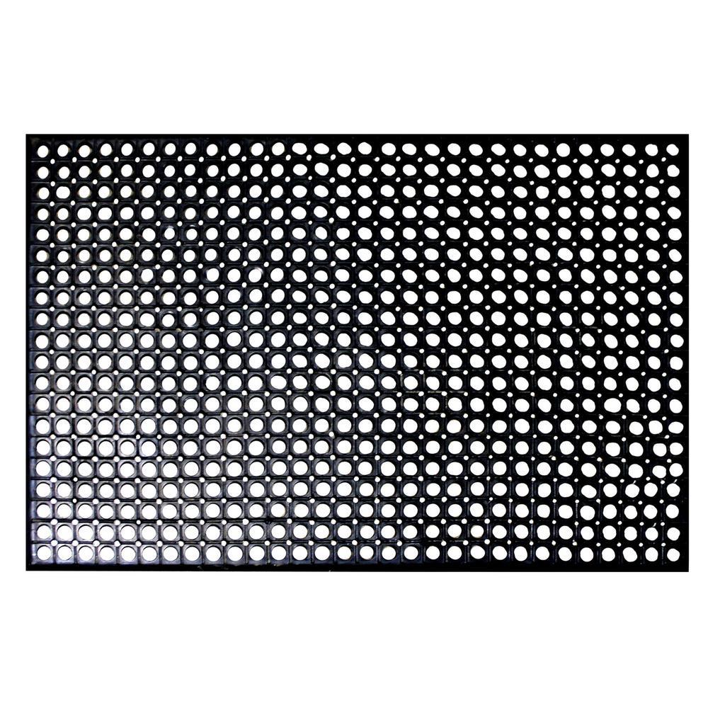 Indoor/Outdoor Durable Anti-Fatigue 36 in. x 60 in. Industrial Commercial Restaurant Bar Rubber Floor Mat in Black