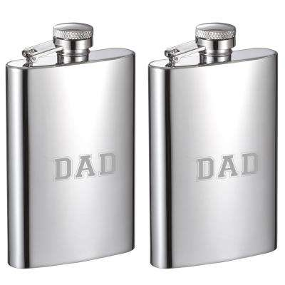 Dad Edition 4 oz. Mini Mirrored Stainless Steel Liquor Flask (Set of 2)