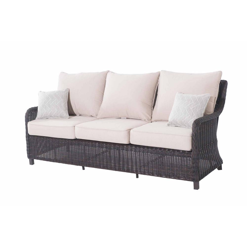 a5473d8ebdf299 Sunjoy Dighton Brown 3-Seat Wicker Outdoor Sofa with Beige Cushions ...
