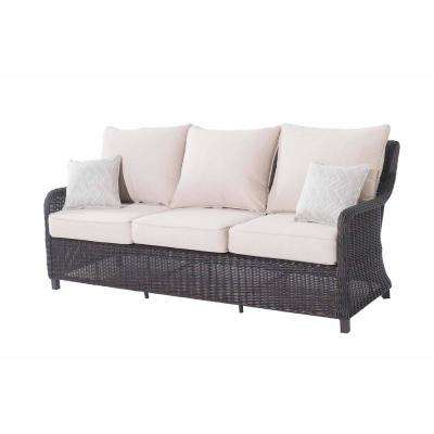 Dighton Brown 3-Seat Wicker Outdoor Sofa with Beige Cushions