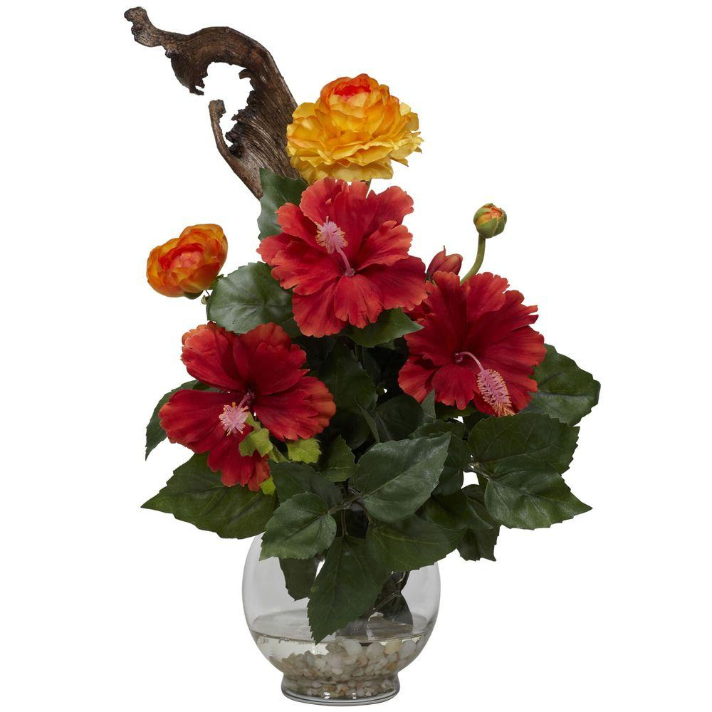 Nearly Natural 16 in. H Red Hibiscus and Ranunculus with Fluted Bowl Silk Flower Arrangement