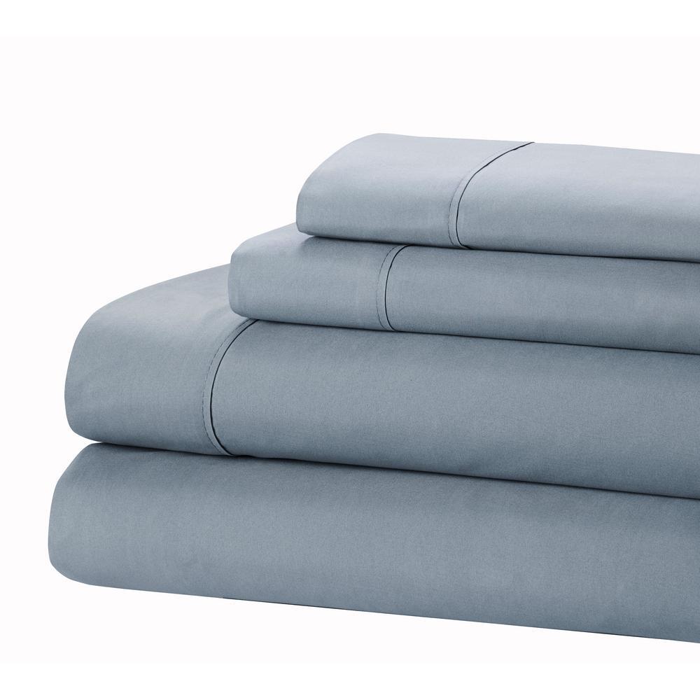 Jill Morgan Fashion 3-Piece Solid Light Blue Twin Sheet Set