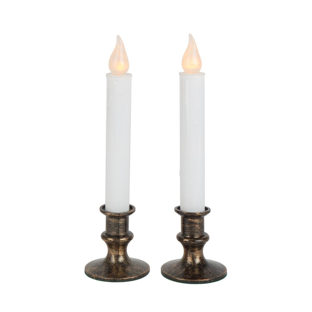 9 in. Antique Bronze Base LED Holiday Candle with Timer (2-Pack)
