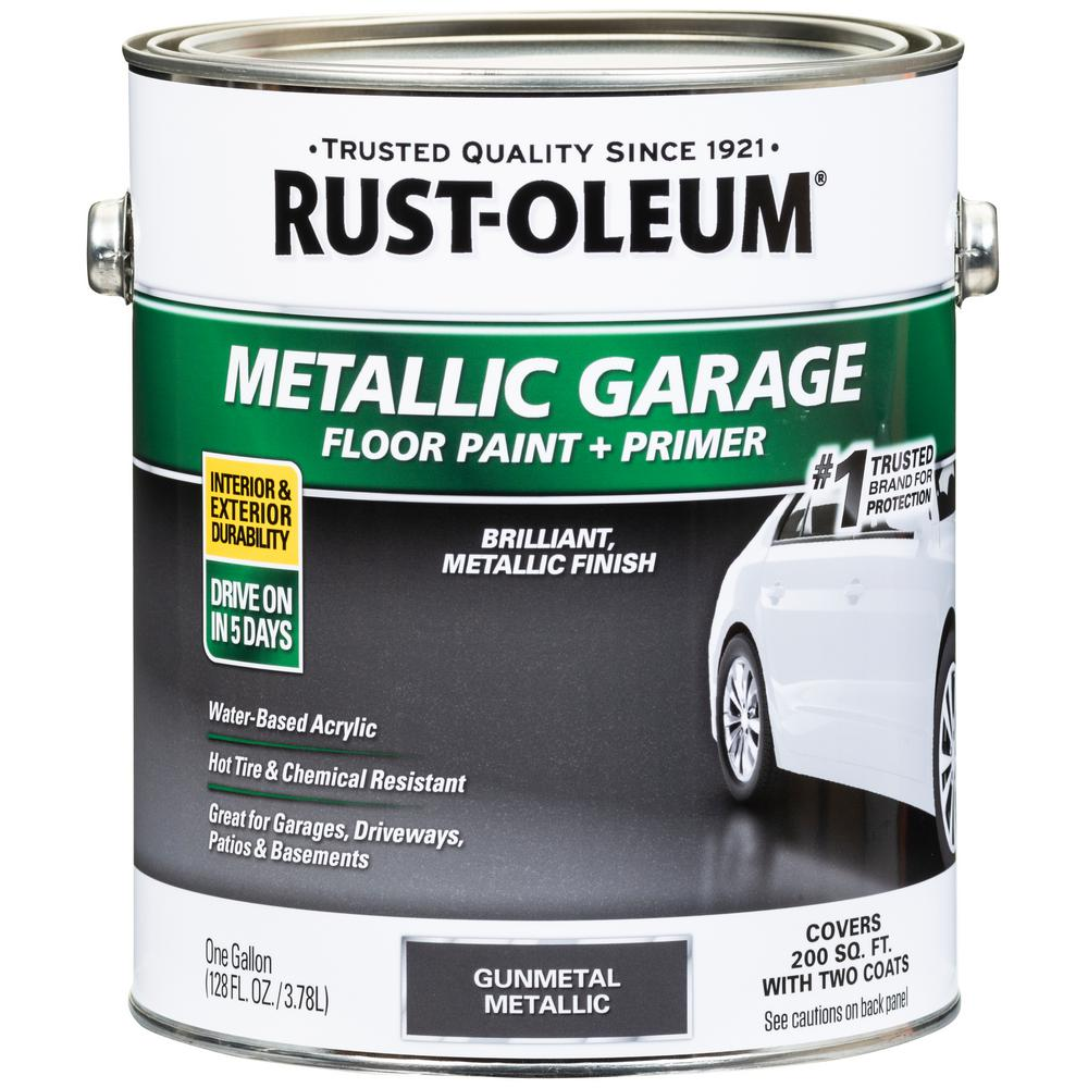 1 gal. Metallic Gunmetal Concrete Floor Interior/Exterior Paint and Primer