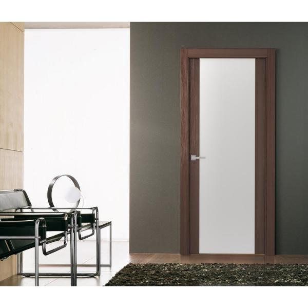Belldinni 36 In X 80 In Mia 202 Wenge Finished Solid Core Wood 1 Lite Frosted Glass Interior Door Slab No Bore 090975 The Home Depot