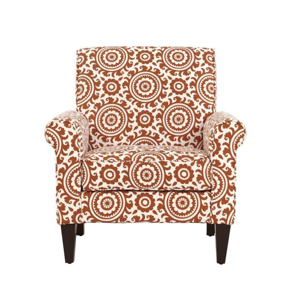 Handy Living Jean Orange and Cream Medallion Arm Chair B340C-PSU30-100